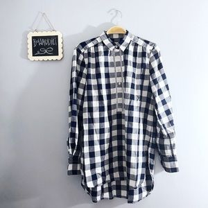 [Loft] Navy Popover Button Plaid Flannel Shirt